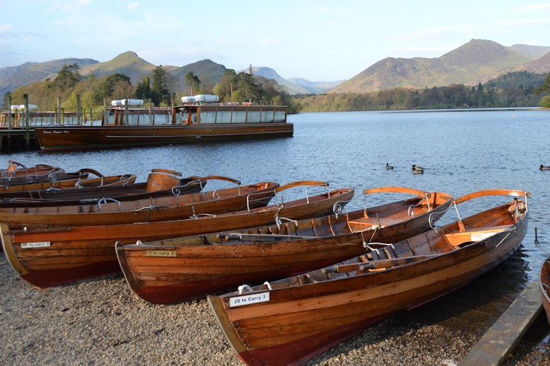 Rowing Boats On Derwent Water In Keswick